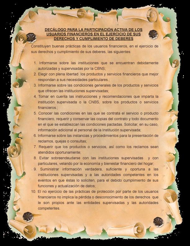 Decálogo para la participación activa de los Usuarios Financieros en el ejercicio de sus derechos y cumplimiento de deberes.